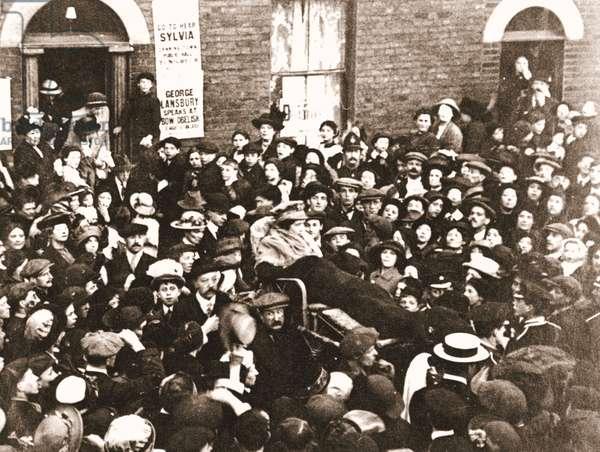 Sylvia Pankhurst in a bath-chair, June 1914 (sepia photo)