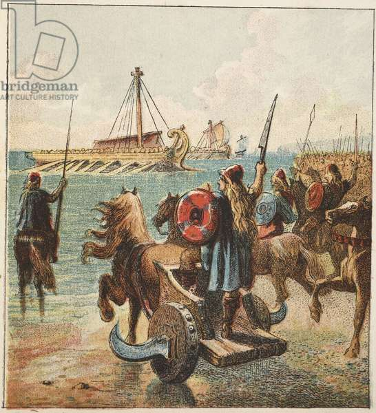 Romans conquer Britain, pub. 1890 (colour lithograph)