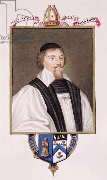 Portrait of John Jewel (1522-71) Bishop of Salisbury from 'Memoirs of the Court of Queen Elizabeth', published in 1825 (w/c and gouache on paper)