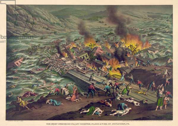The Great Conemaugh Valley Disaster - Flood and Fire at Johnstown, PA., pub. 1889 (colour litho)