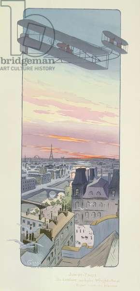 Comte Charles de Lambert flying a Wright-Ariel Biplane, Juvisy, Paris, published by Mabileau, Paris, 1914 (pochoir print)