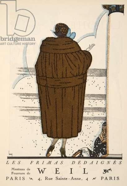 """Advertisment for """"Weil"""",  from Gazette de Bon Ton, pub.  1920 (pochoir print)"""