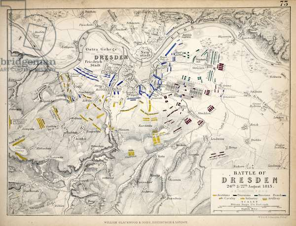 Map of the Battle of Dresden, published by William Blackwood and Sons, Edinburgh & London, 1848 (hand-coloured engraving)