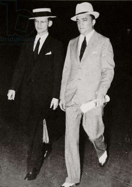 J. Edgar Hoover, Chief of the FBI, with the young Melvin Purvis, 1934 (b/w photo)