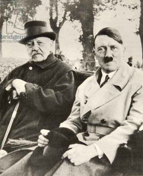 Hindenburg and Adolf Hitler in Neudek (b/w photo)