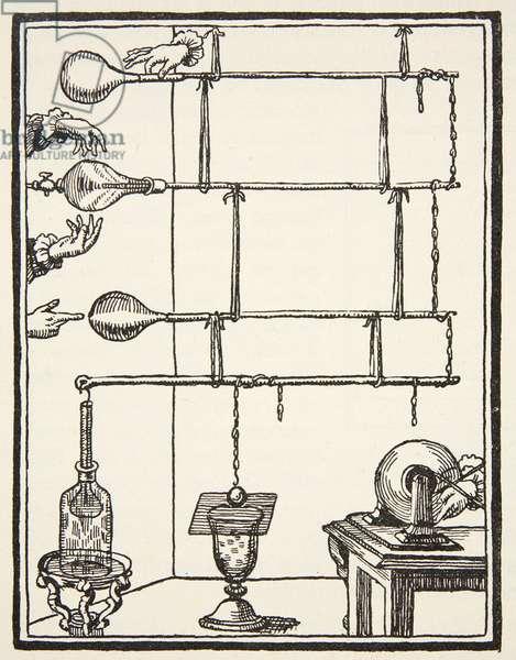 Descarges electriques dan l'ai rarefie, 1753, copy by Boris Mestchersky (d.1957) illustration from 'Histoire de la Nation Francaise', Sciences, Volumes I & II, by Gabriel Hanotaux (1853-1944), 1924 (litho)