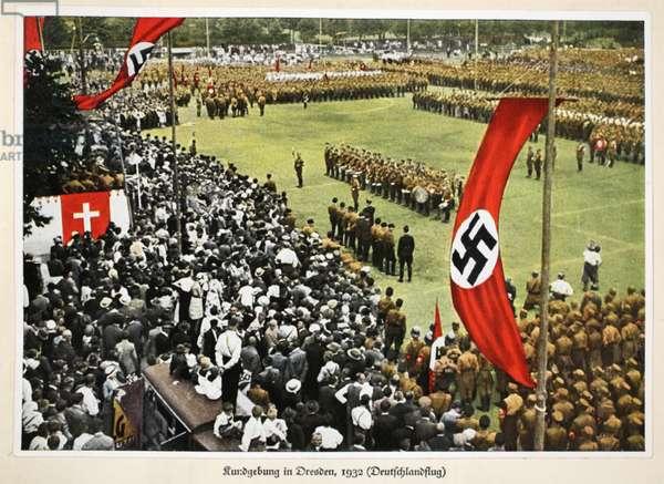 Rally in Dresden, 1932 (Deutschlandflug), from 'Germany Awakened' (colour litho)