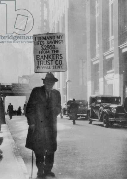 The Wall Street Crash, c.1929 (b/w photo)