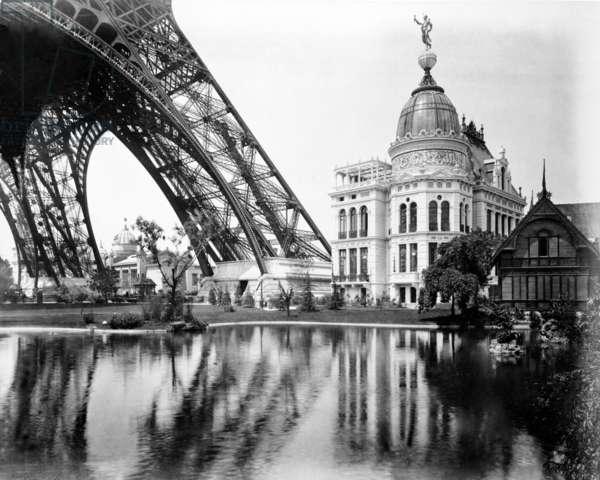 Gas Pavilion and Swedish Chalet, Paris Exhibition, 1889 (b/w photo)