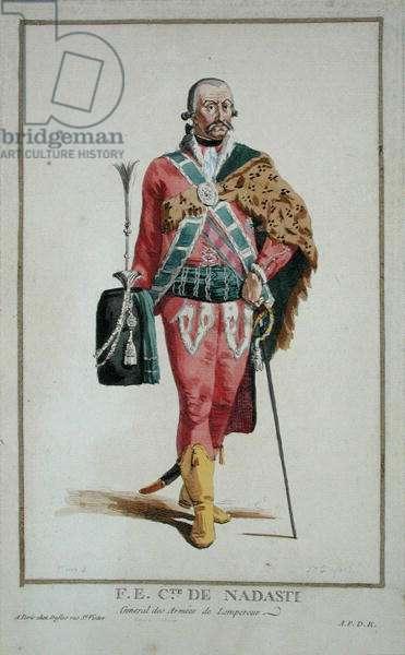 His Excellency Count de Nadasti from 'Receuil des Estampes, Representant les Rangs et les Dignites, suivant le Costume de toutes les Nations existantes', published 1780 (hand-coloured engraving)