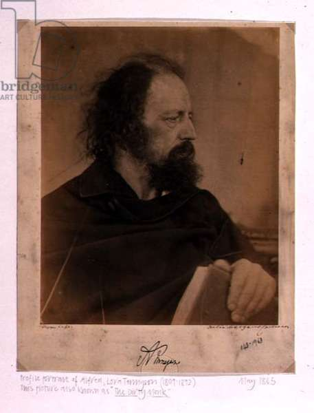 Profile portrait of Alfred, Lord Tennyson (1809-92) dressed as