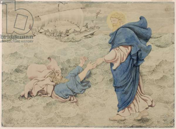 Sketch of Christ Walking on Water (w/c on paper)