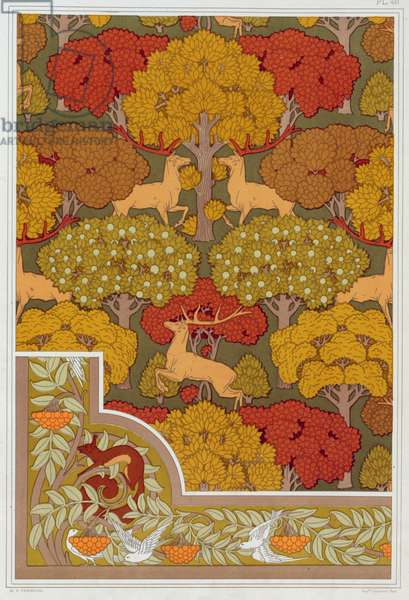 """Designs for wallpaper and wallpaper border """"Deer in the Trees"""" and  """"Squirrel with Birds and Mountain Ash"""" from 'L'Animal dans la Decoration' by Maurice Pillard Verneuil, pub. 1897 (colour lithograph)"""