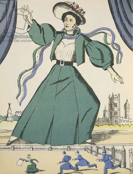 Emmeline Pankhurst, illustration from 'Heroes and Heroines' by Eleanor and Herbert Farjeon, pub. 1933 (colour block print)