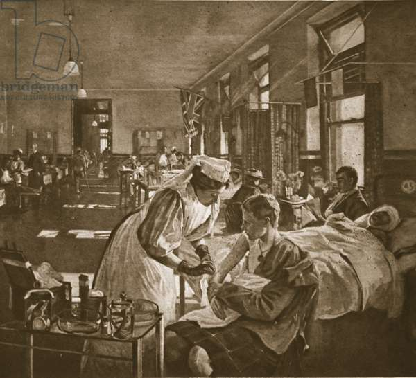 Wounded; The London Hospital, 1914-19 (litho)
