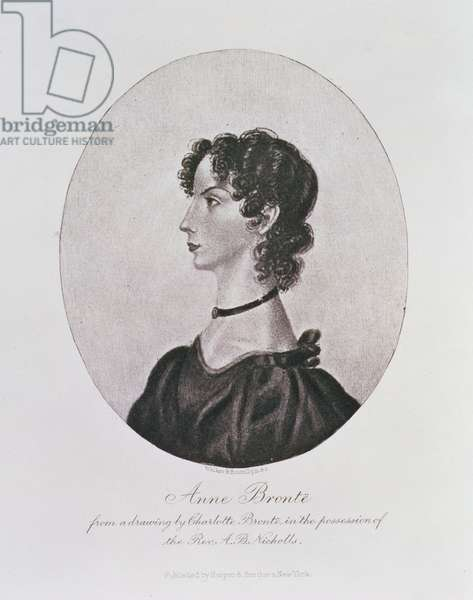Portrait of Anne Bronte (1820-49) from a drawing in the possession of the Rev. A. B. Nicholls, engraved by Walker and Boutall (engraving)
