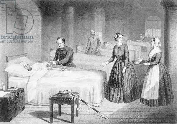 Miss Nightingale in the Hospital at Scutari, engraved by George Greatbach (engraving)