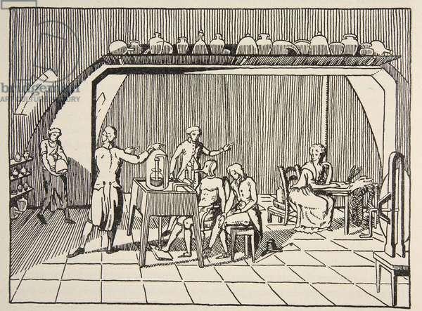 A respiration experiment in the laboratory of Lavoisier, copy by Boris Mestchersky (d.1957) illustration from 'Histoire de la Nation Francaise', Sciences, Volumes I & II, by Gabriel Hanotaux (1853-1944), 1924 (litho)