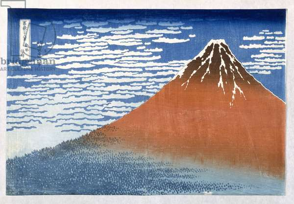 Fuji, Mountains in clear Weather, 1831, from the series '36 Views of Mt. Fuji' Hokusai, Katsushika (1760-1849) (Hand Coloured wood block print)