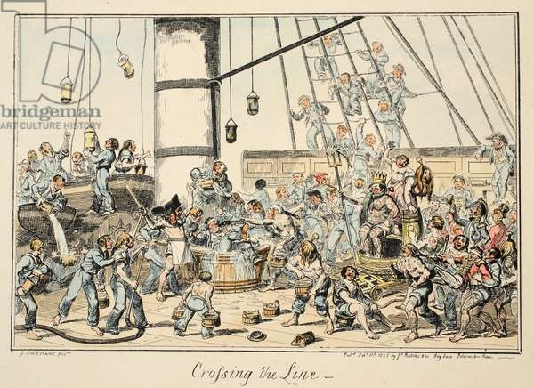 Crossing The Line, from Greenwich Hospital, a Series of Naval Sketches, Descriptive of a Life of a Man-of-War's Man, pub. 1825 (hand coloured engraving)