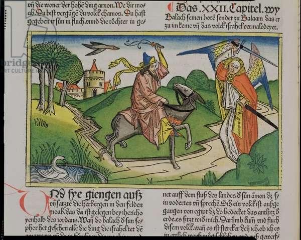 Numbers 22 20-35 Balaam's talking ass, from the 'Nuremberg Bible (Biblia Sacra Germanaica)' (coloured woodcut)