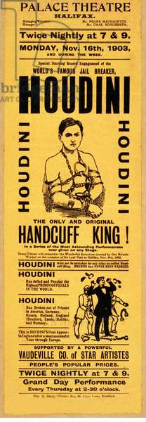 Playbill for appearance by Houdini at Palace Theatre, Halifax,pub. 1903 (litho)