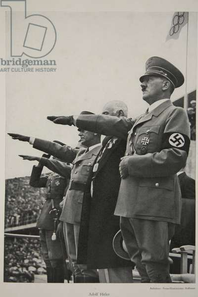 Adolf Hitler at the 1936 Olympic Games (b/w photo)