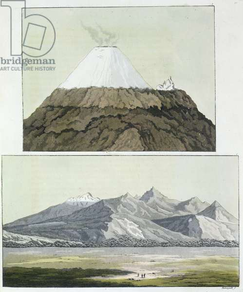 Summit of Cotopaxi (top), and the eruption of Cotopaxi, 1803 (bottom), from 'Le Costume Ancien et Moderne', Volume I, by Jules Ferrario, published c.1820s-30s (colour litho)