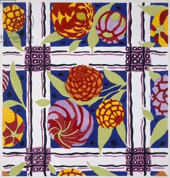 Floral design motif, from 'Floreal, Dessins et Coloris nouveaux', published Paris, c.1925 (pochoir print)