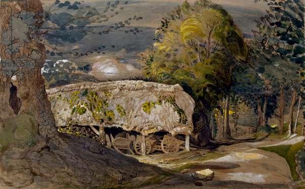 Landscape with a Barn, Shoreham, Kent (w/c on paper)