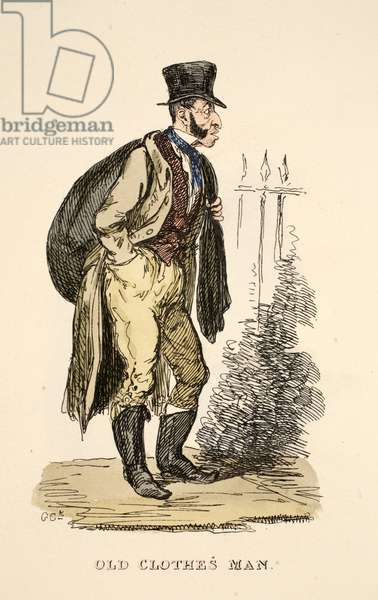 Old Clothes Man from 'The Gentleman's Pocket Magazine', pub. 1827 (hand coloured engraving)