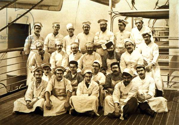 The ship's cooks aboard the R.M.S. Teutonic (b/w photo)