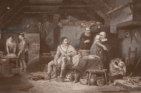 Alfred in the Neatherd's Cottage, engraved by A.H. Payne (colour litho)