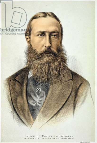 Portrait of Leopold II (1835-1909), King of Belgium (1865-1909) (colour litho)