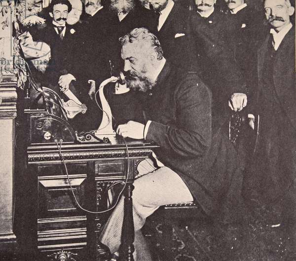 Alexander Graham Bell making the first call between New York and Chicago, 1892 (b/w photo)