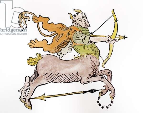 Sagittarius (the Centaur) an illustration from the 'Poeticon Astronomicon' by C.J. Hyginus, Venice, 1485 (woodcut) (later colouration)