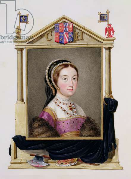 Portrait of Catherine Howard (c.1520-d.1542) 5th Queen of Henry VIII from 'Memoirs of the Court of Queen Elizabeth', published in 1825 (w/c and gouache on paper)
