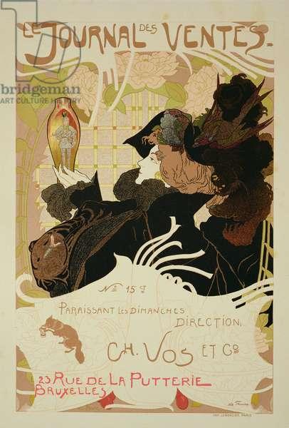 Reproduction of a poster advertising 'Le Journal des Ventes', 1897 (colour litho)