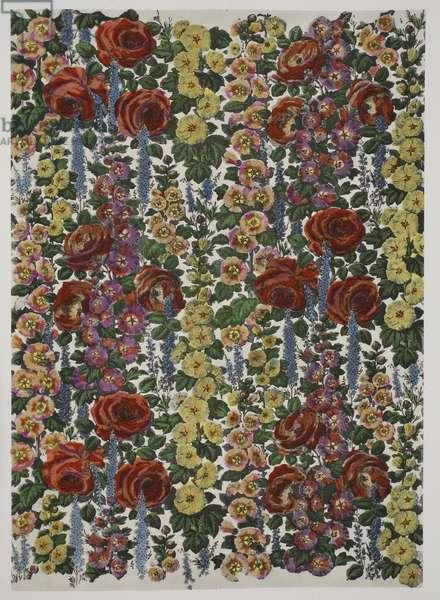 Hollyhocks and Roses, pub. 1933 (colour litho)