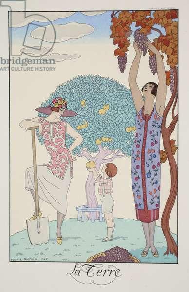 Earth, from 'Falbalas & Fanfreluches, Almanach des Modes Présentes, Passées et Futures', 1925 (colour litho)