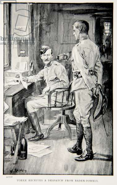 Yorke receives a despatch from Baden-Powell, an illustration from 'With Roberts to Pretoria: A Tale of the South African War' by G.A. Henty, pub. London, 1902 (litho)
