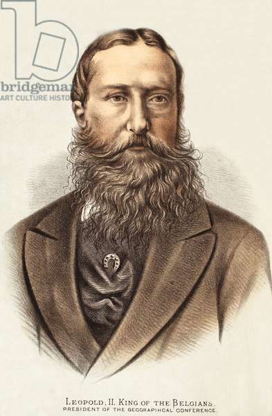 Leopold II, King of the Belgians, illustration from The Pictorial Edition of the Life and Discoveries of David Livingstone by J. Ewing Richie, pub. by A. Fullarton & Co., 1876 (colour litho)