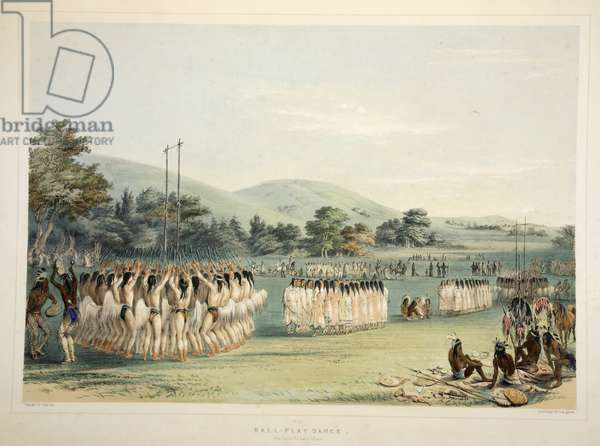 Ball-Player Dance, from Catlin's North American Indian Portfolio. Hunting Scenes and Amusements of the Rocky Mountains and Prairies of America, pub. 1845 (colour litho)