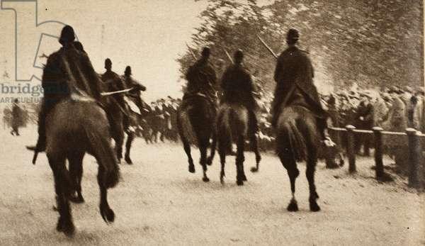 Police on Horseback controling crowds during the Great Strike at Hyde Park Corner, pub. 1926 (photogravure)