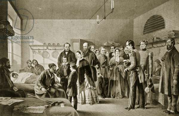 Queen Victoria visiting the wounded (litho)
