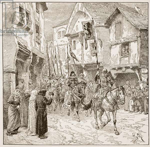 Departure of Duke Robert for the Holy Land, illustration from 'The Church of England: A History for the People' by H.D.M. Spence-Jones, pub. c.1910 (litho) (sepia photo)