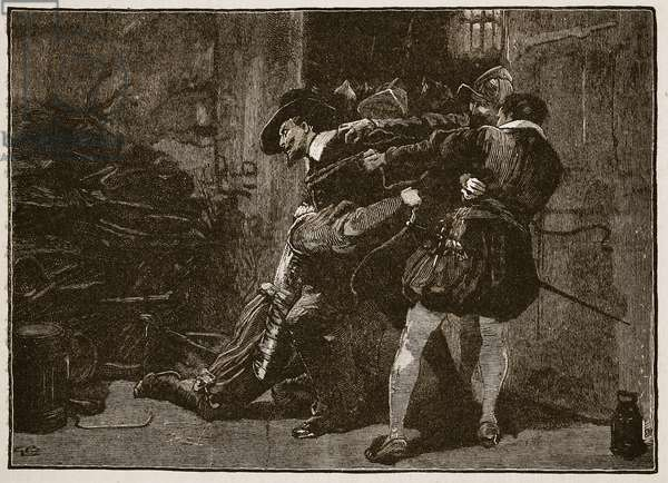 Arrest of Guy Fawkes, illustration from 'Cassell's Illustrated History of England' (engraving) (sepia photo)