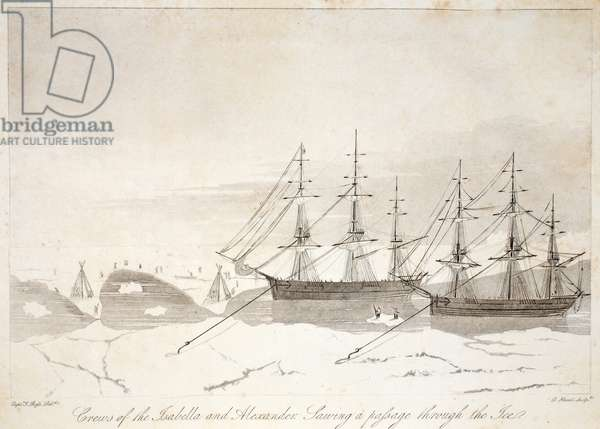 Crews of the Isabella and Alexander sawing a passage through the ice, illustration from 'A Voyage of discovery...', 1819 (litho)
