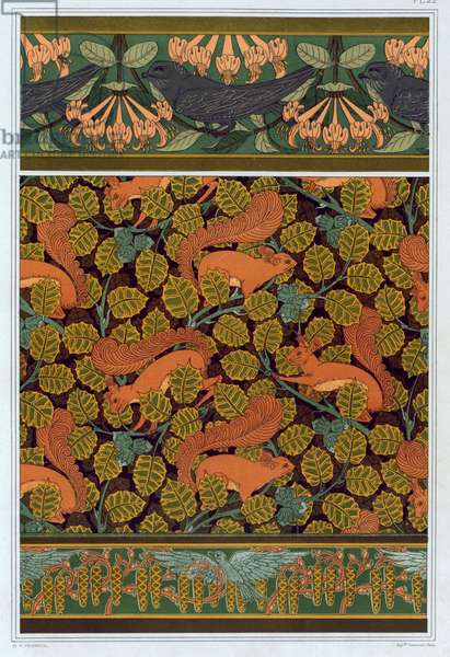 """Designs for wallpaper,  and borders: """"Swifts and Honeysuckle"""", """"Squirrels and Hazelnuts"""" and """"Birds with Catkins"""", from 'L'Animal dans la Decoration' by Maurice Pillard Verneuil,  pub. 1897 (colour lithograph)"""