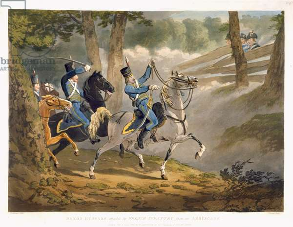 Saxon Hussars attacked by French infantry from an Ambuscade, from 'Military Evolutions', pub. Ackermann, London, 1799-1802 (colour litho)